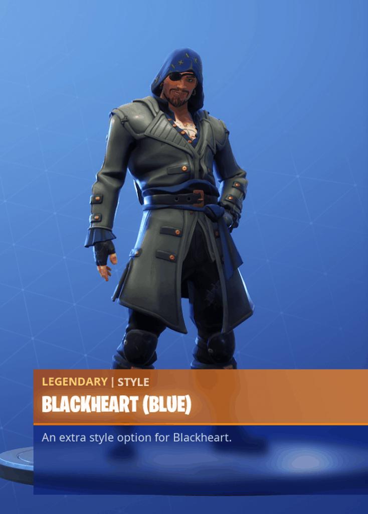 Fortnite Blackheart skin Blue clothing style season 8 battle pass