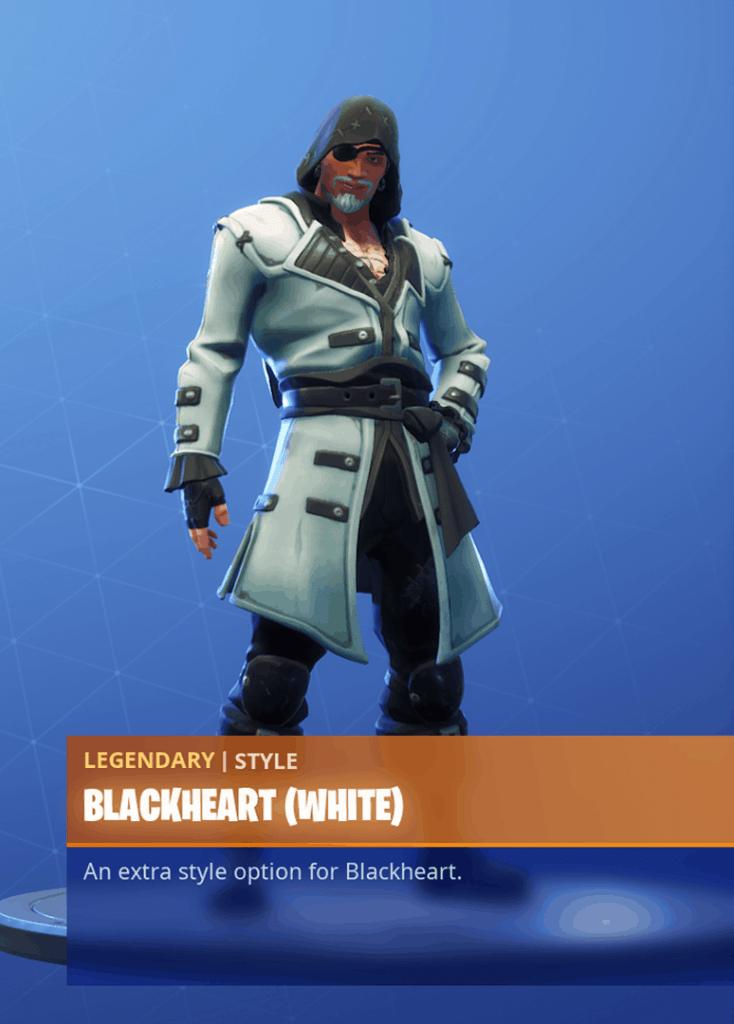 Fortnite Blackheart skin White clothing style season 8 battle pass