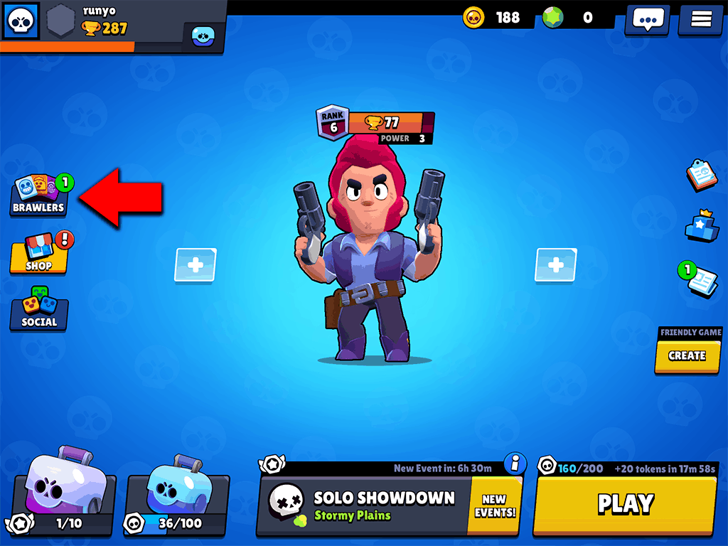 Brawl Stars Brawlers tab in main lobby