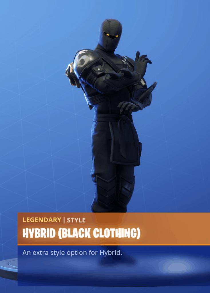 Fortnite Hybrid skin black clothing style season 8 battle pass