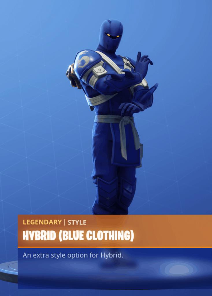 Fortnite Hybrid skin blue clothing style season 8 battle pass