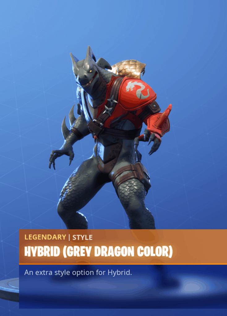 Fortnite Hybrid skin grey dragon color style season 8 battle pass