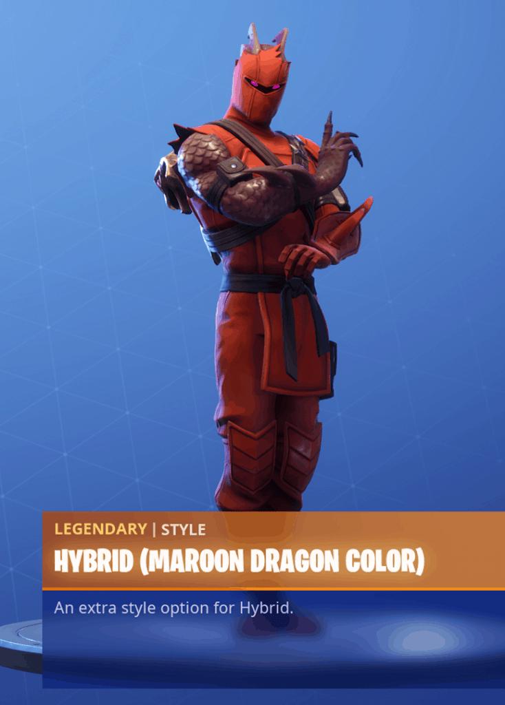 Fortnite Hybrid skin maroon dragon color style season 8 battle pass