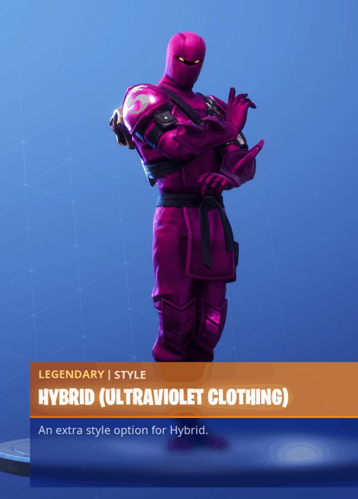 Fortnite Hybrid skin ultraviolet clothing style season 8 battle pass