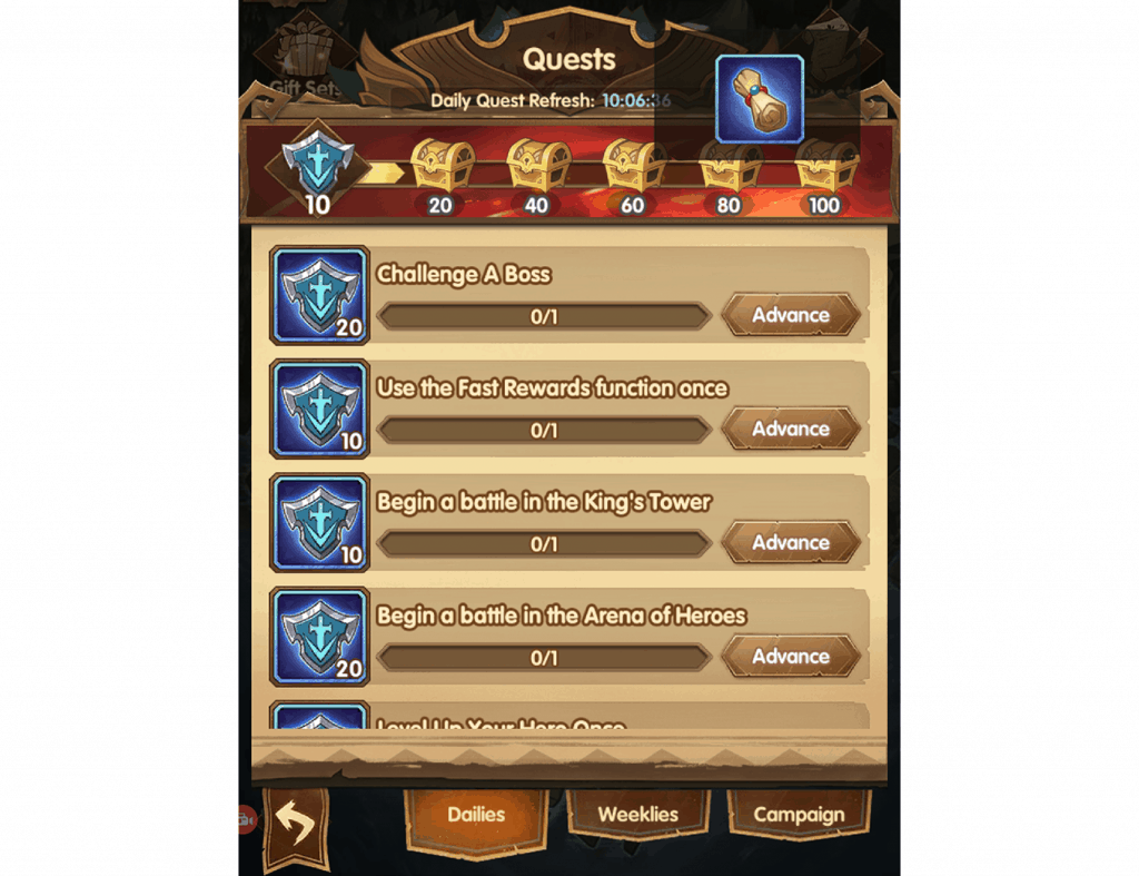 Common hero scroll from daily quests AFK Arena