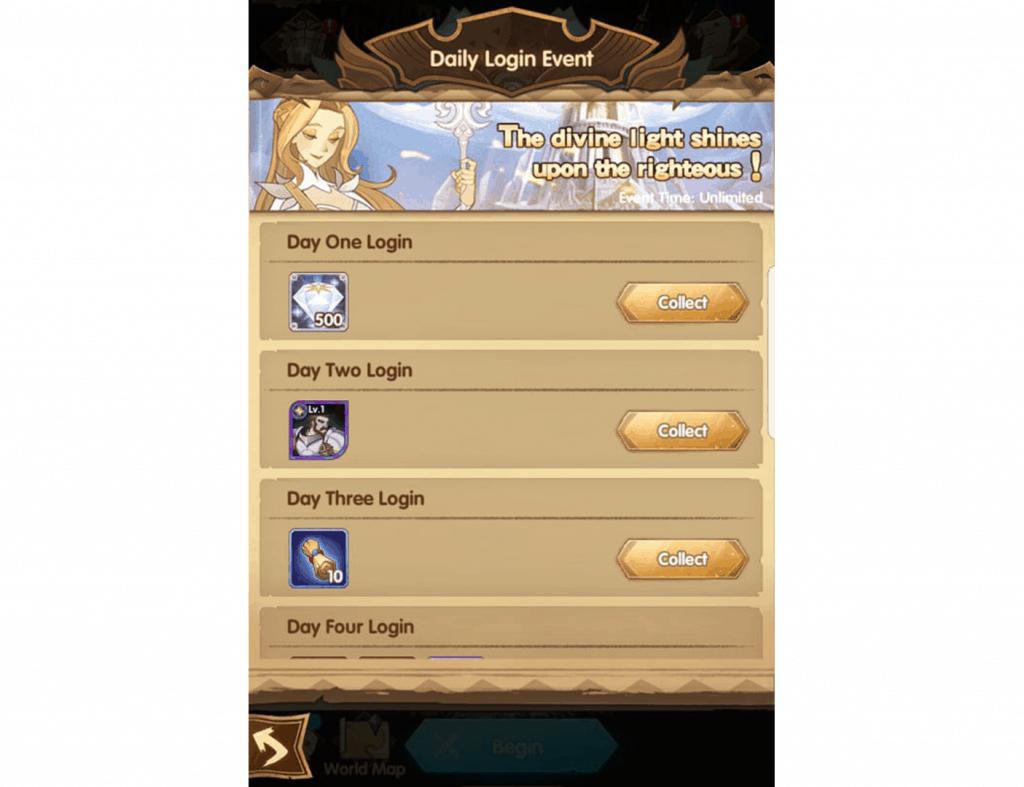 Daily login rewards AFK Arena