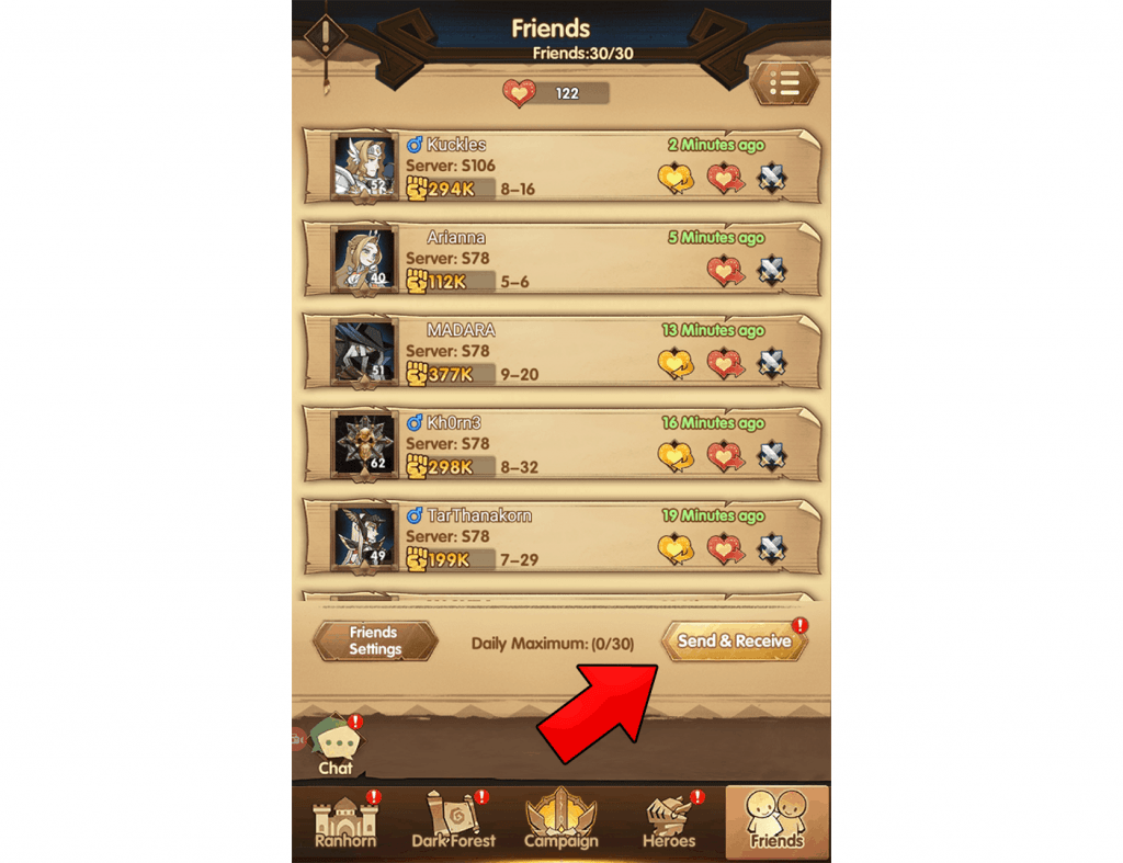 Friends system send and receive companion points AFK Arena