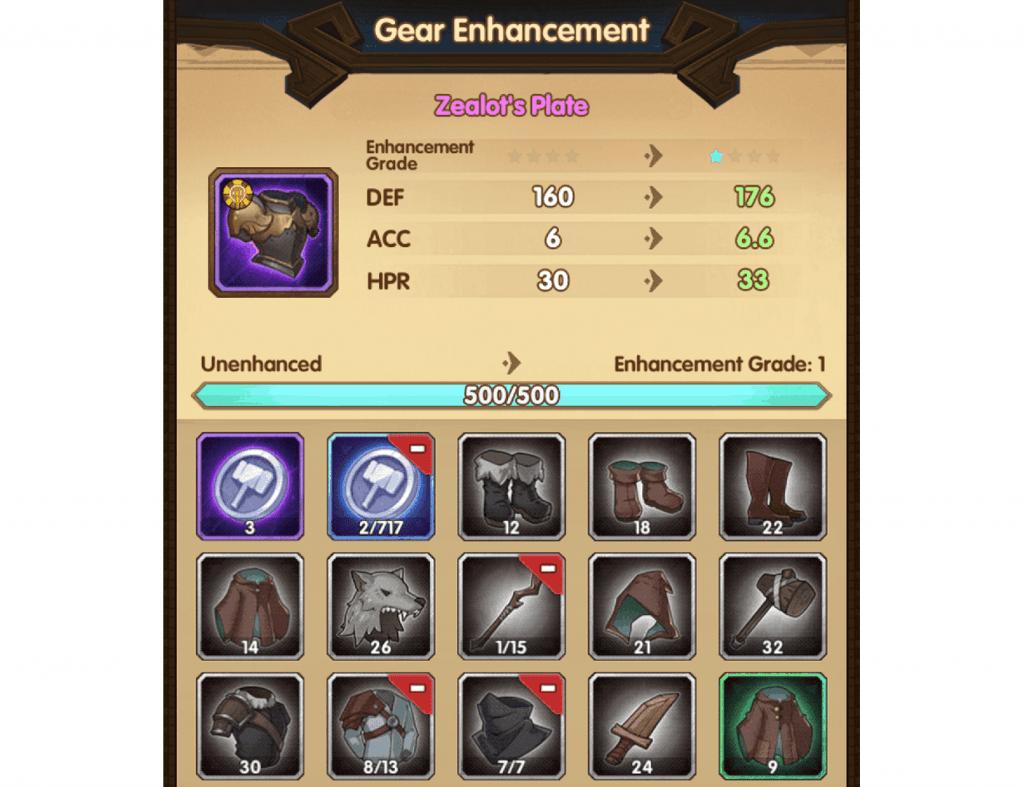 Gear enhancement in AFK Arena