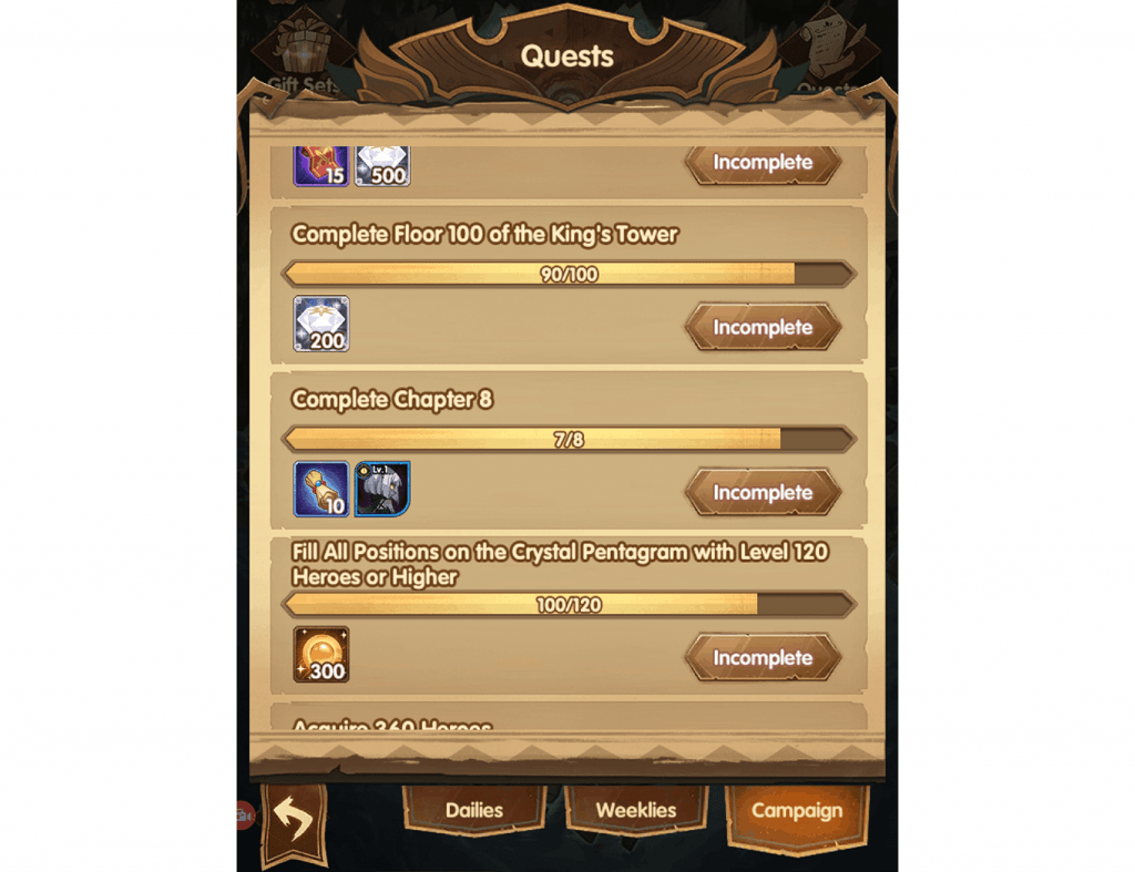 Hero scrolls from chapter rewards AFK Arena