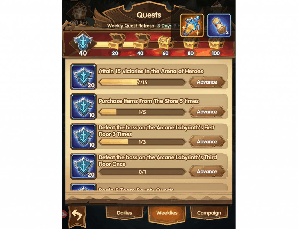 Hero scrolls reward from weekly quests AFK Arena