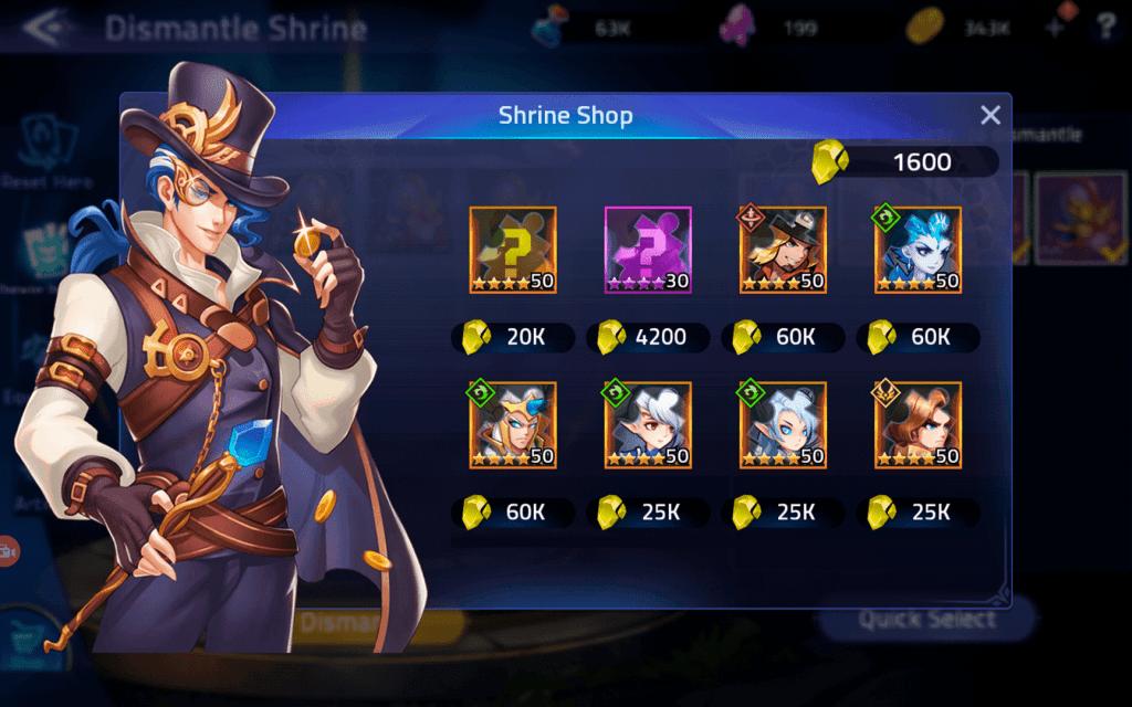 Shrine Shop items in ML: Adventure