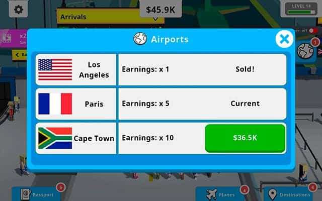 Idle Tap Airport buy new airports