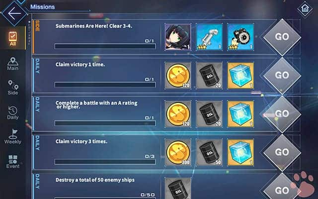 Azur Lane oil rewards missions