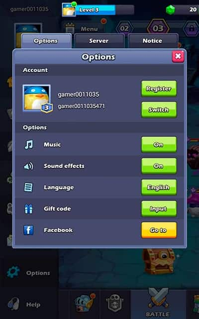 Taptap Heroes switch account