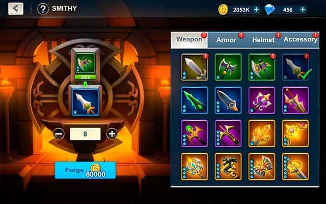 Idle War gear upgrade smithy
