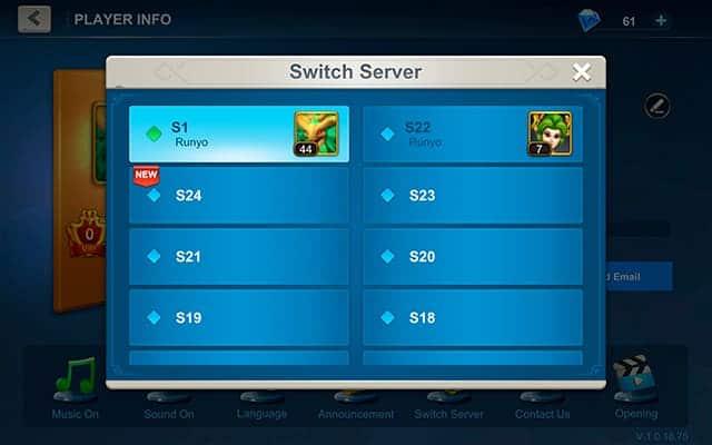 Idle War server list