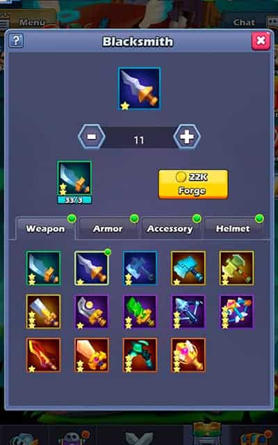 Taptap Heroes equipment from blacksmith