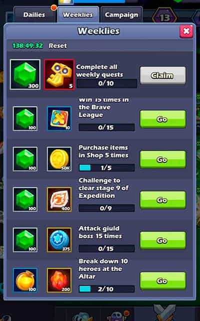 Taptap Heroes gems from weekly quests