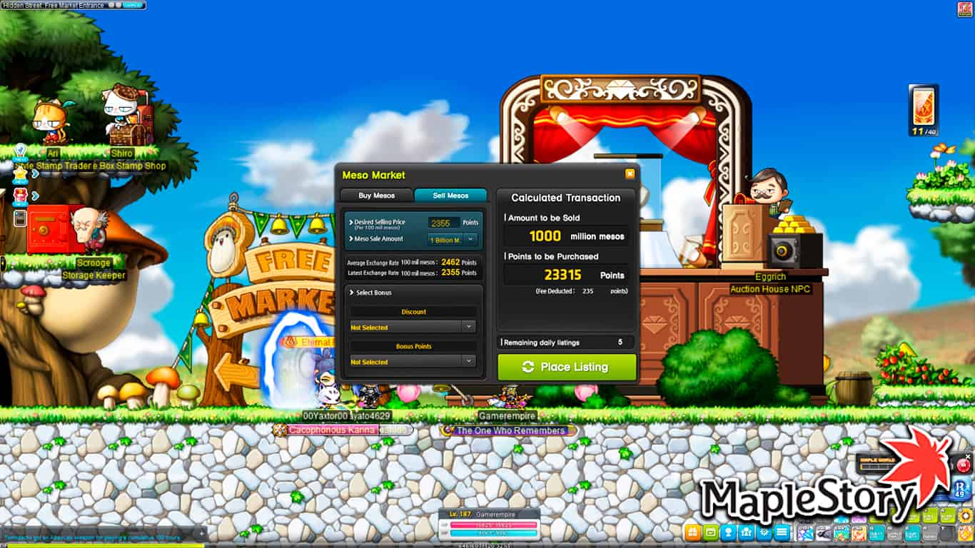 Maplestory – How To Buy NX With Mesos