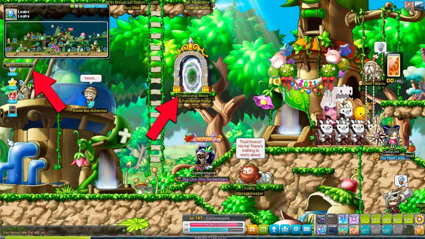 Maplestory Dimensional Mirror and Quick Move