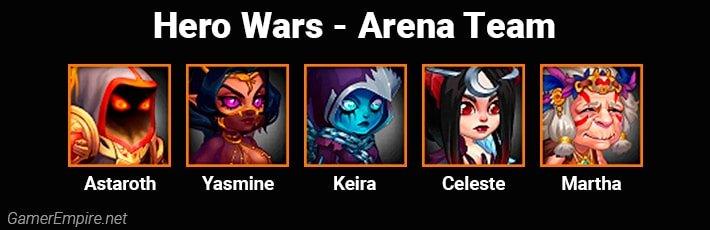 Hero Wars Arena Team Astaroth Yasmine Keira Celeste Martha
