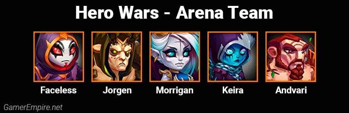 Hero Wars Arena Team Faceless Jorgen Morrigan Keira Andvari