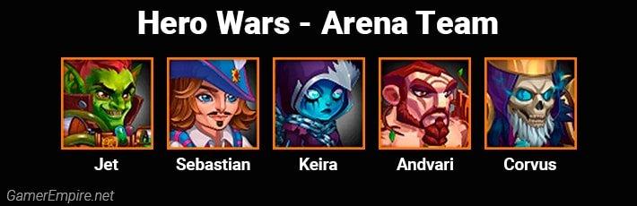 Hero Wars Arena Team Jet Sebastian Keira Andvari Corvus