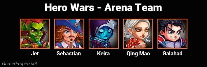 Hero Wars Arena Team Jet Sebastian Keira Qing Mao Galahad
