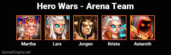Hero Wars Arena Team Martha Lars Jorgen Krista Astaroth