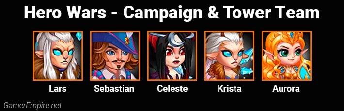Hero Wars Campaign and Tower Team Lars Sebastian Celeste Krista Aurora