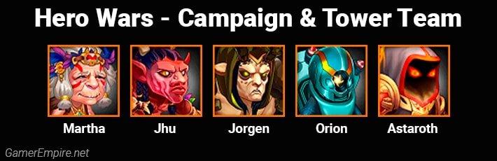 Hero Wars Campaign and Tower Team Martha Jhu Jorgen Orion Astaroth