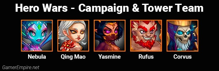 Hero Wars Campaign and Tower Team Nebula Qing Mao Yasmine Rufus Corvus
