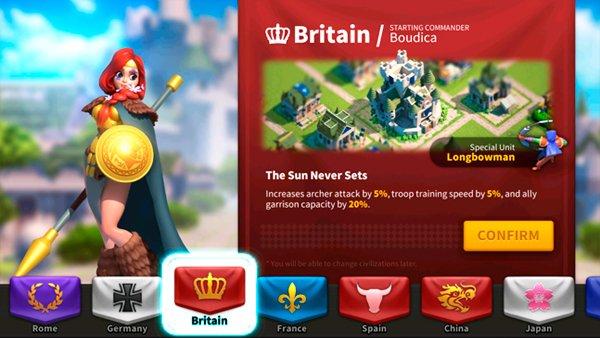 Rise of Kingdoms Britain Civilization