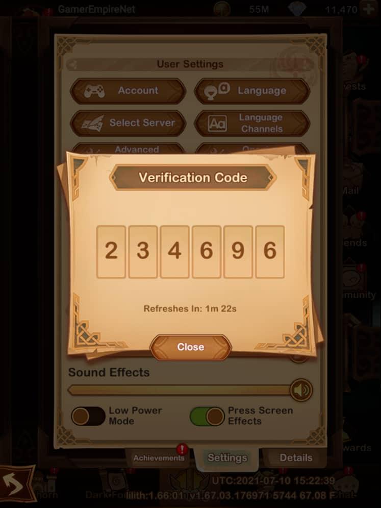 AFK Arena Verification Code